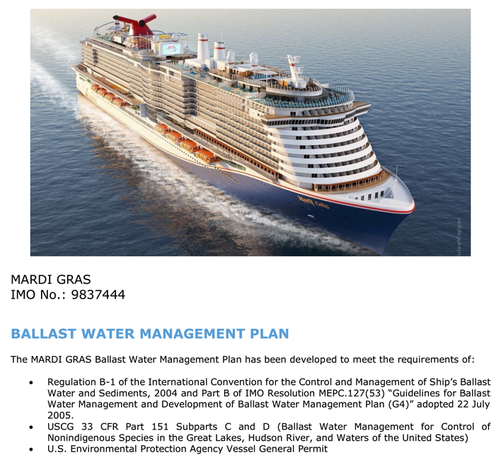 Carnival Cruise Line choses Choice Ballast Solutions for fleets Ballast Water Management Plans